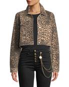 Veronica Beard Cara Leopard-Print Cropped Jean Jacket and