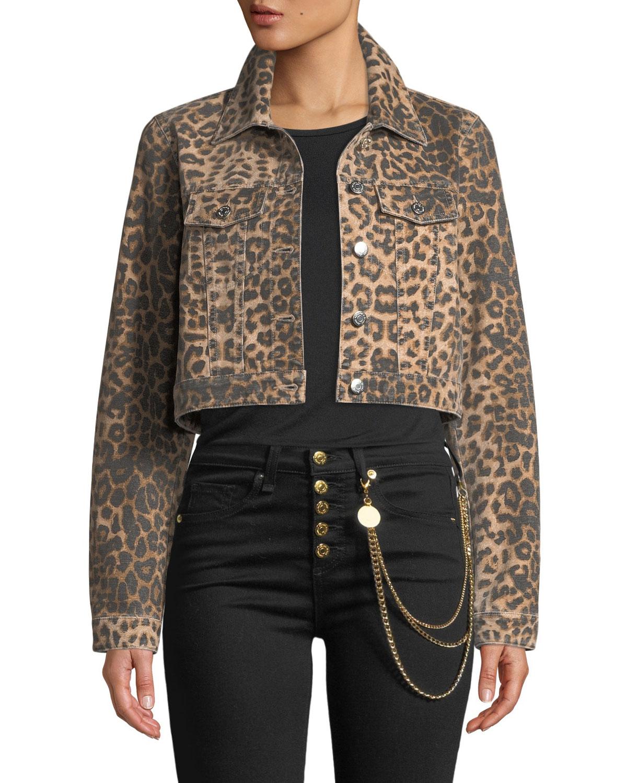 Cara Leopard-Print Cropped Jean Jacket