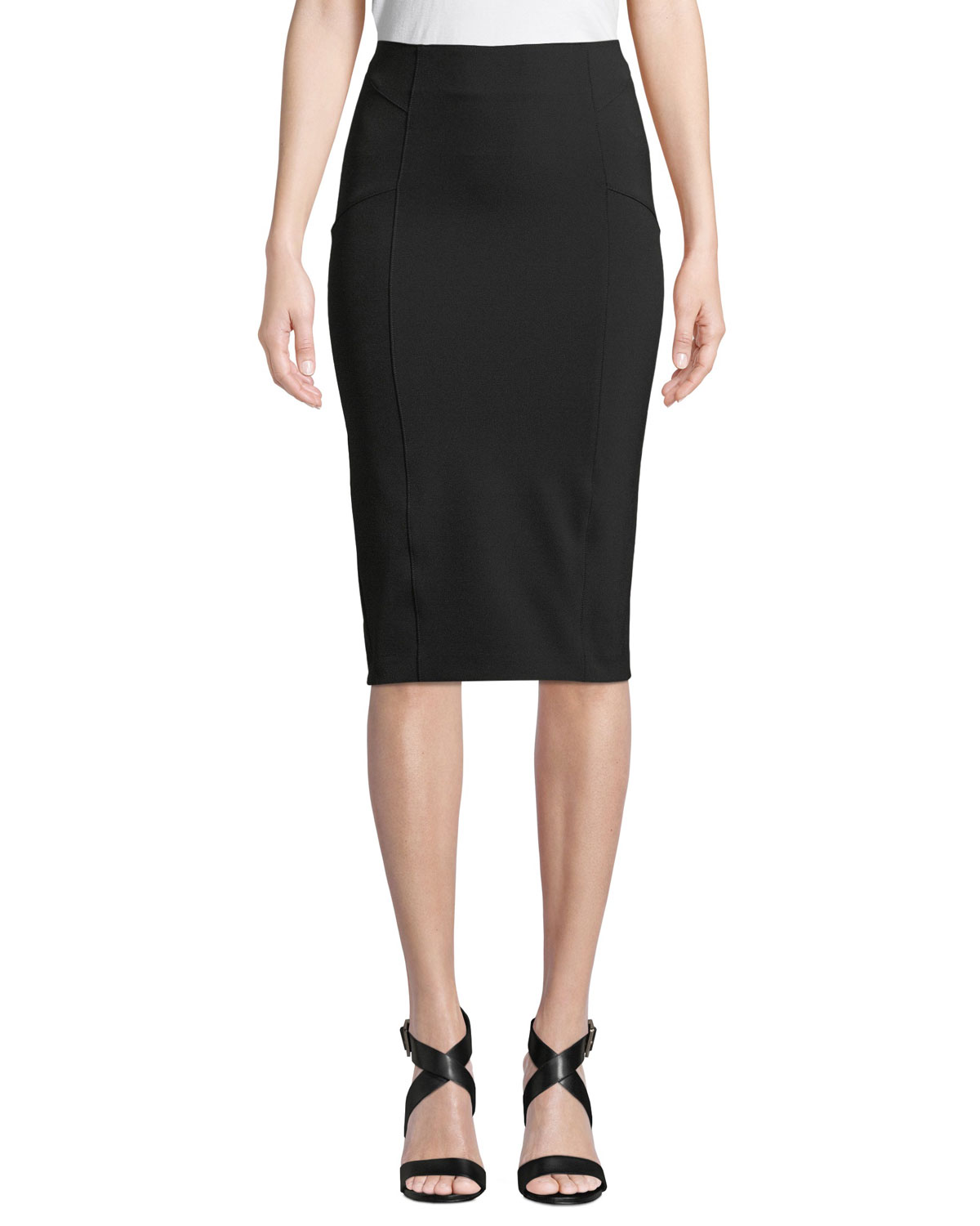 Scuba-Knit Pencil Skirt With Exposed Zip in Black