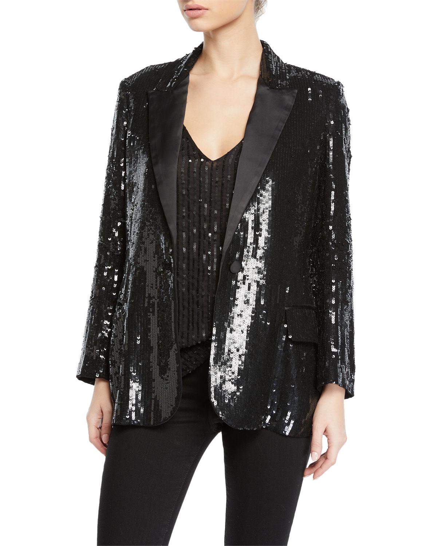 Neval Sequin Single-Button Blazer in Black/White Combo