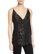 L'Agence Gabriella V Neck Sequin Cami and Matching