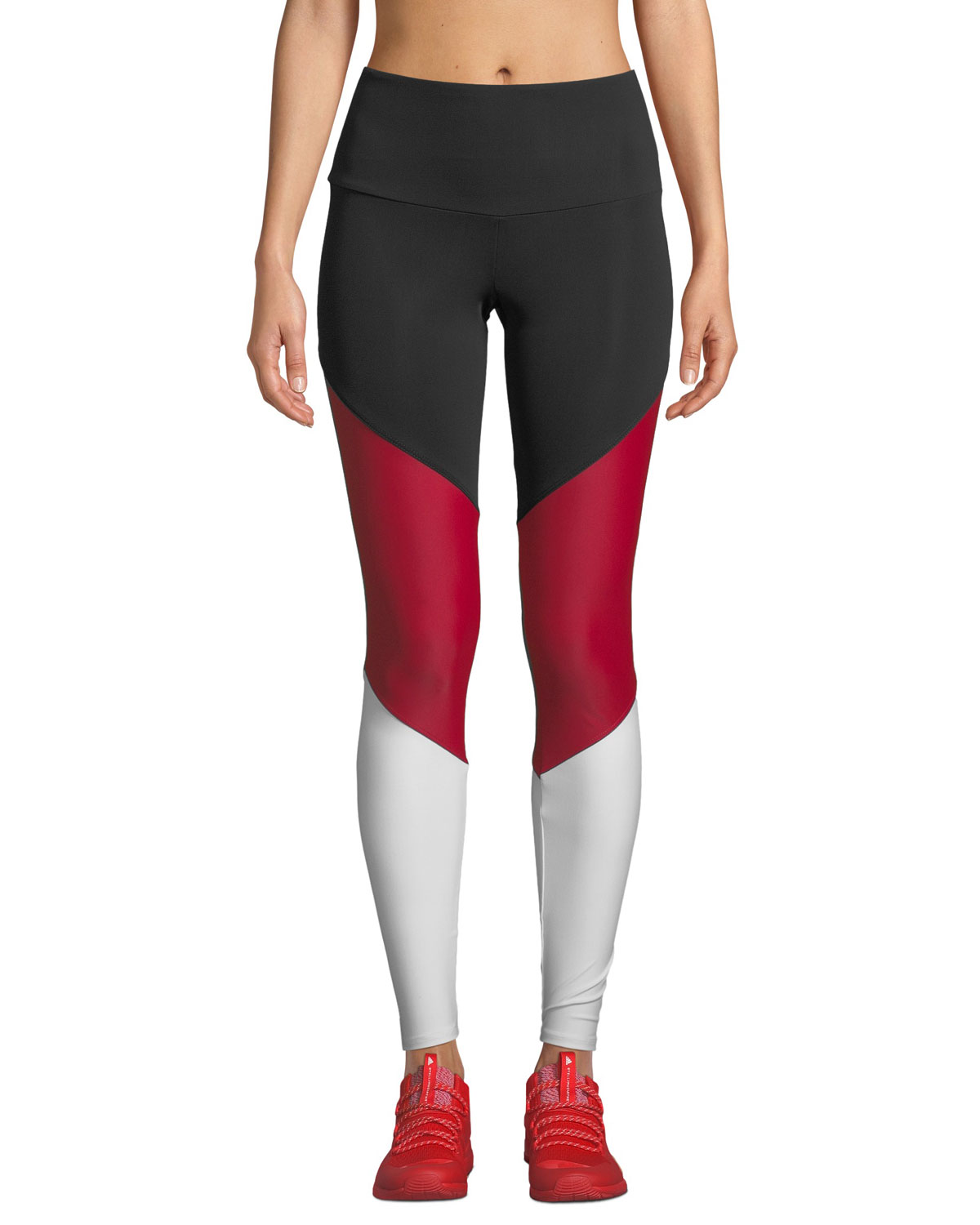 ONZIE High-Rise Colorblock Track Leggings in Black/Red