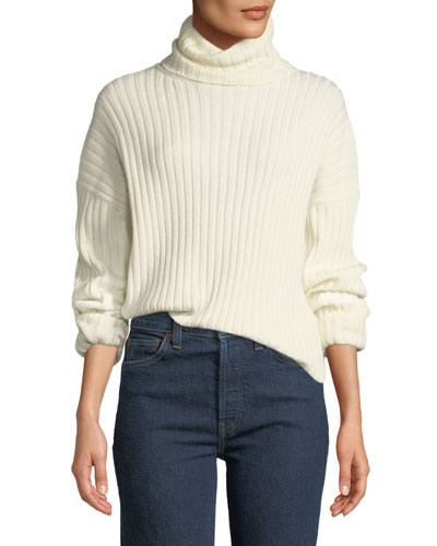 Chunky Ribbed Turtleneck Wool-Cashmere Sweater