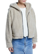 RE/DONE Faux-Fur Zip-Front Hoodie with Animal Ears