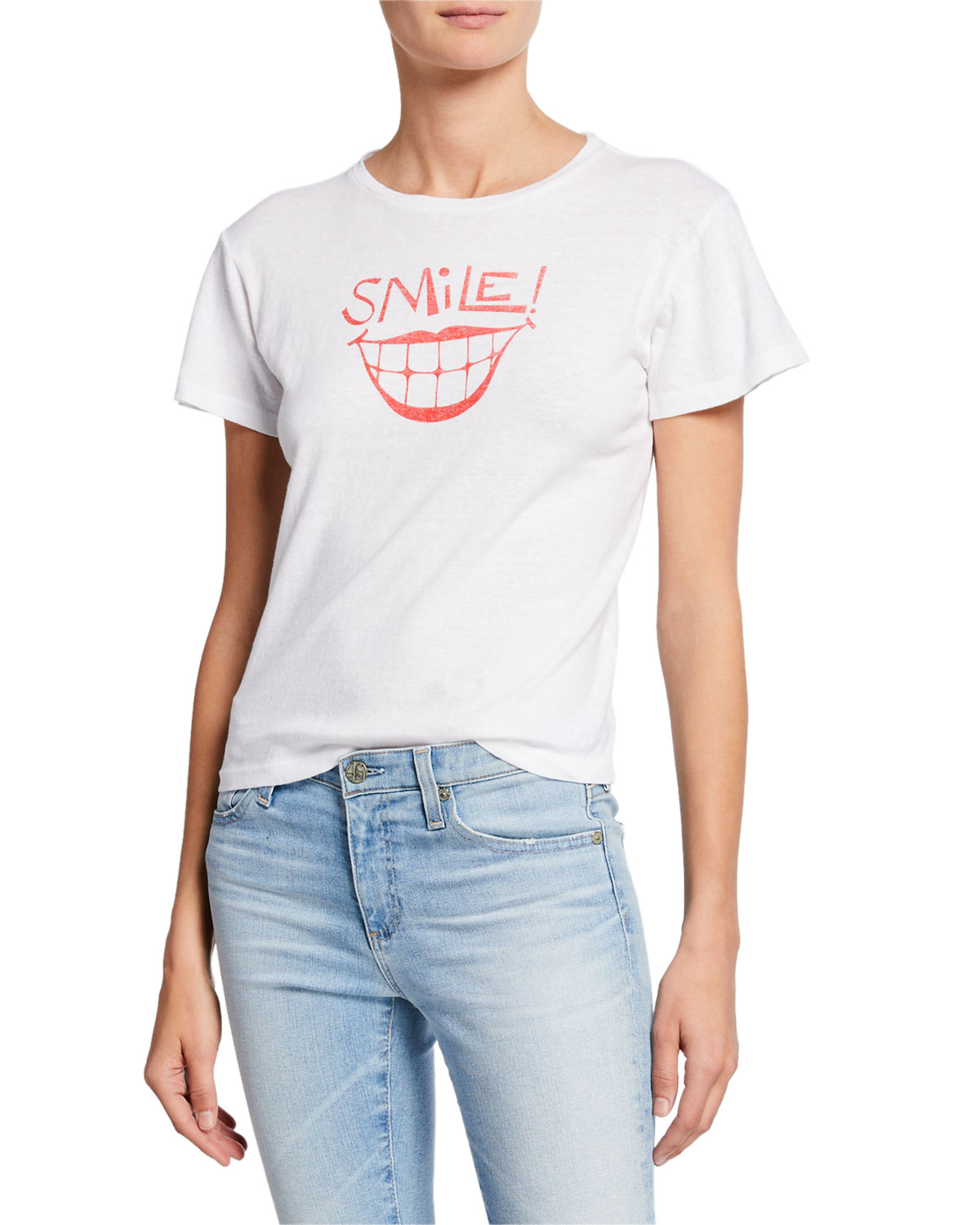 Classic Tee With Smile Graphic in White/Black