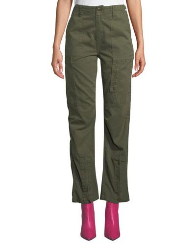 High-Rise Straight-Leg Cargo Pants