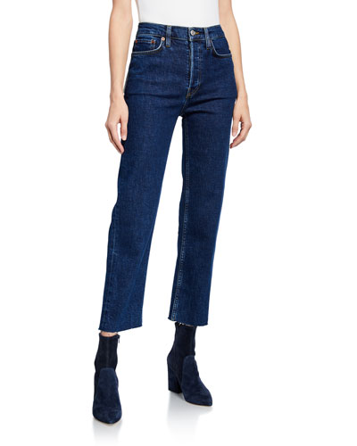 High-Rise Double-Needle Cropped Straight-Leg Jeans
