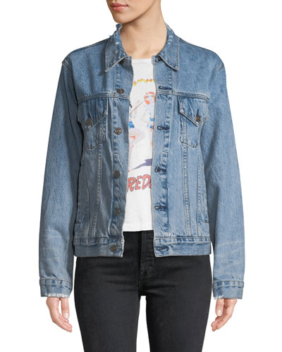 Perfect Oversized Frayed Trucker Denim Jacket