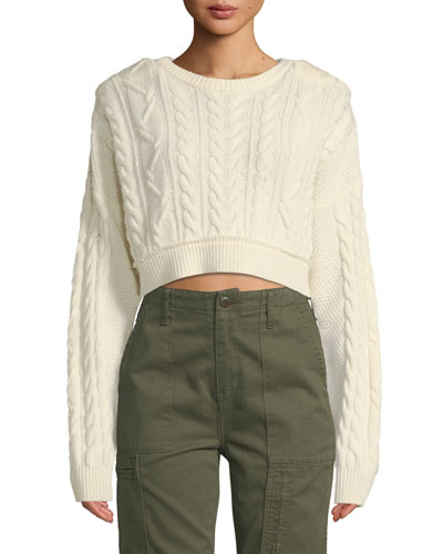 Cropped Wool-Cashmere Cable-Knit Sweater
