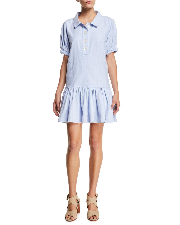 Dropped-Waist Short-Sleeve Flounce Shirtdress in Light Blue