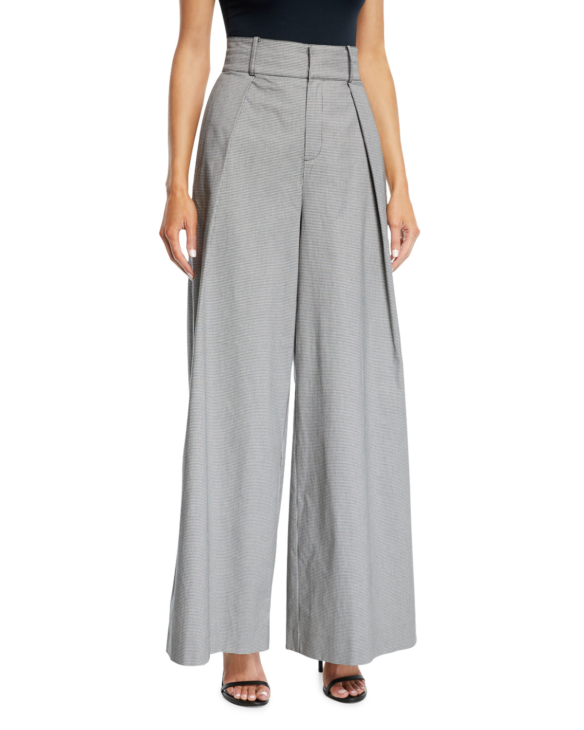 Pleated High-Waist Check Wide-Leg Trousers in Black Pattern
