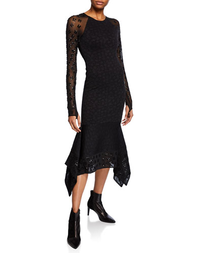 Sequin Floral Jacquard Jersey Cocktail Dress