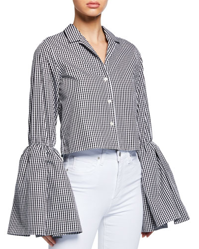 Cropped Bell-Sleeve Gingham Button-Up Top