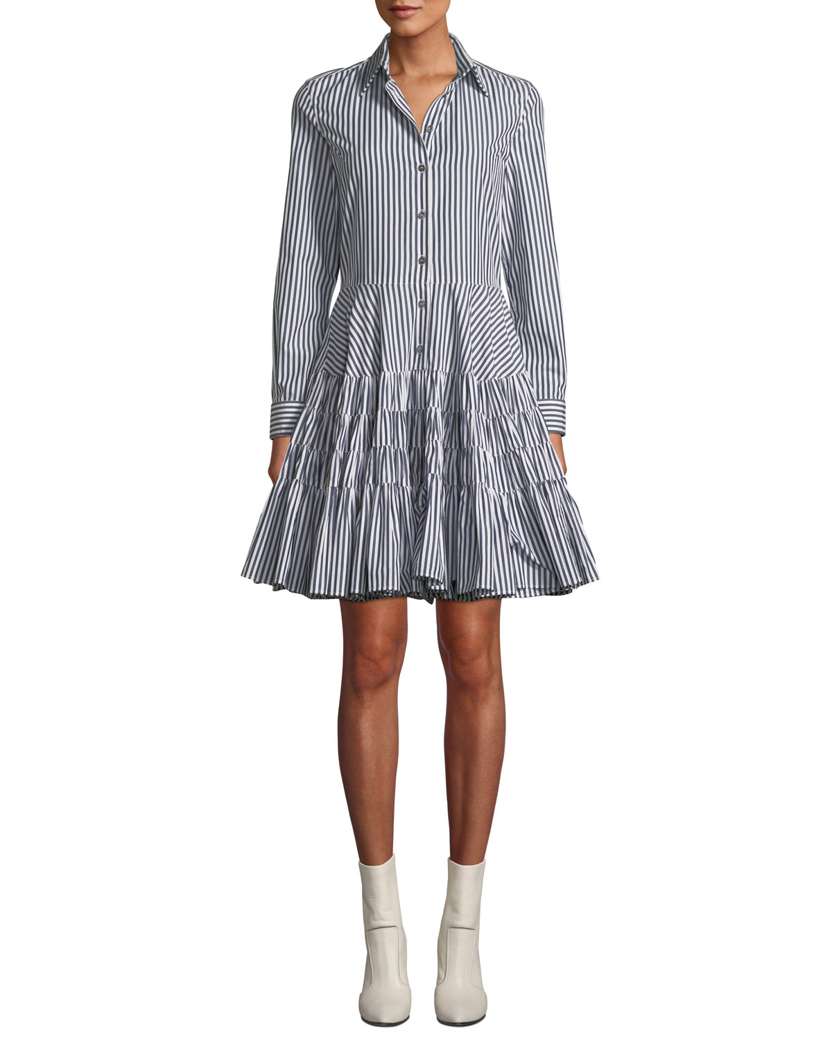 ANAIS JOURDEN Striped Gathered Fit-And-Flare Shirtdress in Blue Pattern