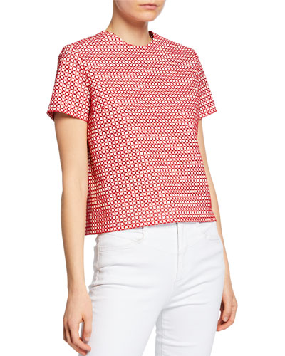Faux-Leather Embroidered Short-Sleeve Top
