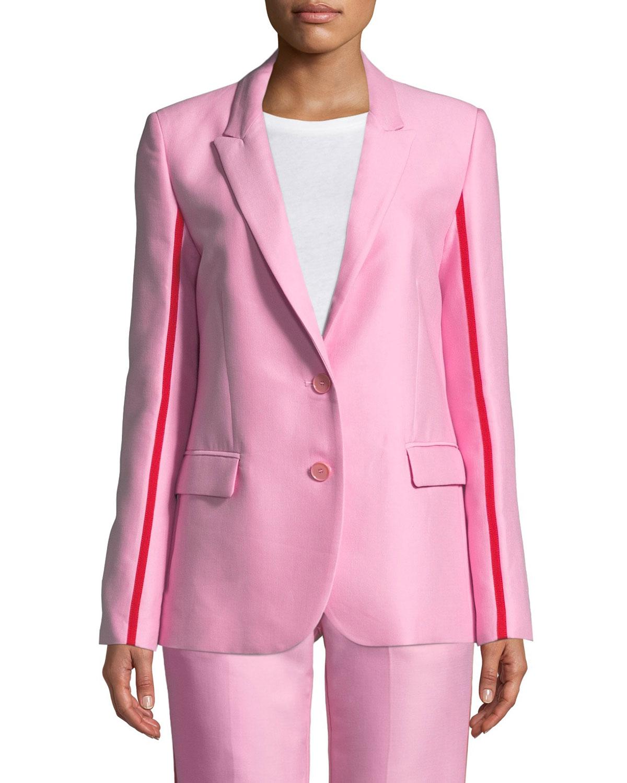 PINKO Racer-Stripe Two-Button Blazer in Pink