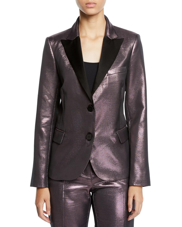 PINKO Metallic Peak-Lapel Two-Button Blazer in Pink Metallic
