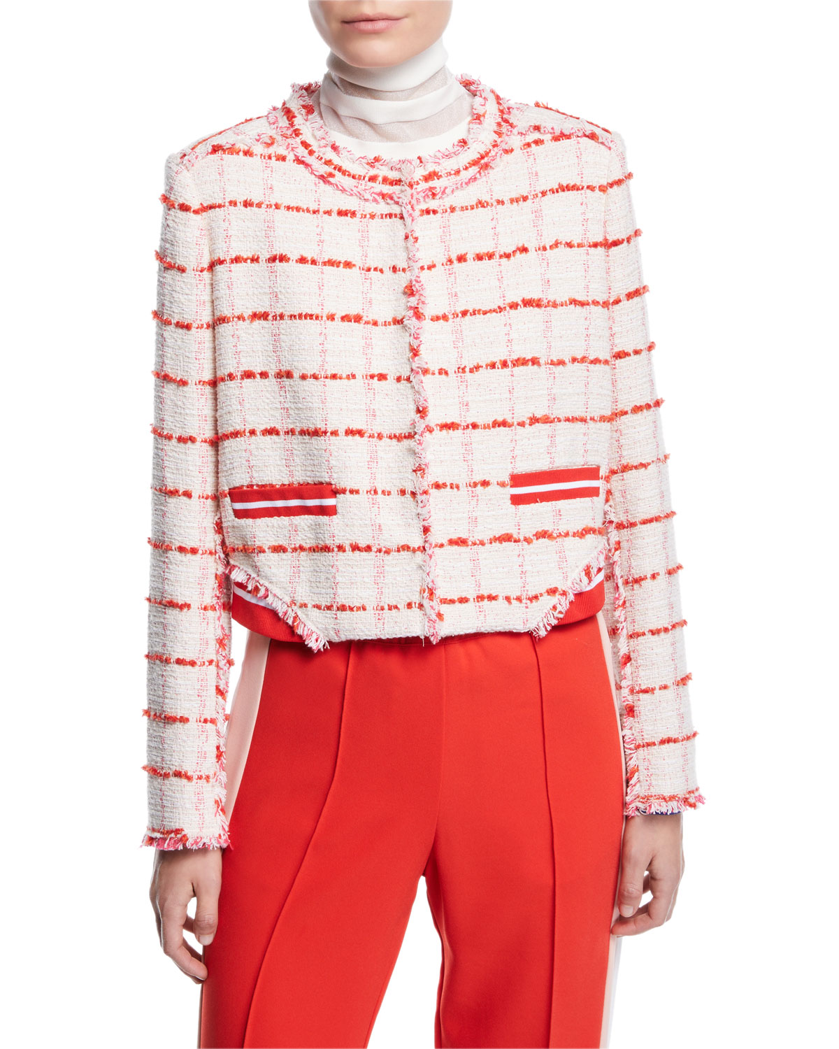 PINKO Cropped Check Frayed Boucle Jacket in White/Red
