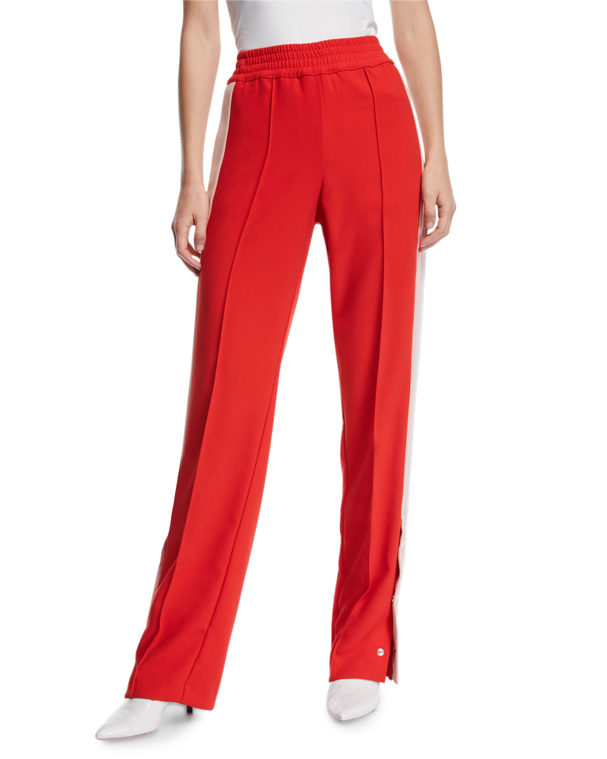 PINKO Snap-Up Racer Stripe Track Pants in Red