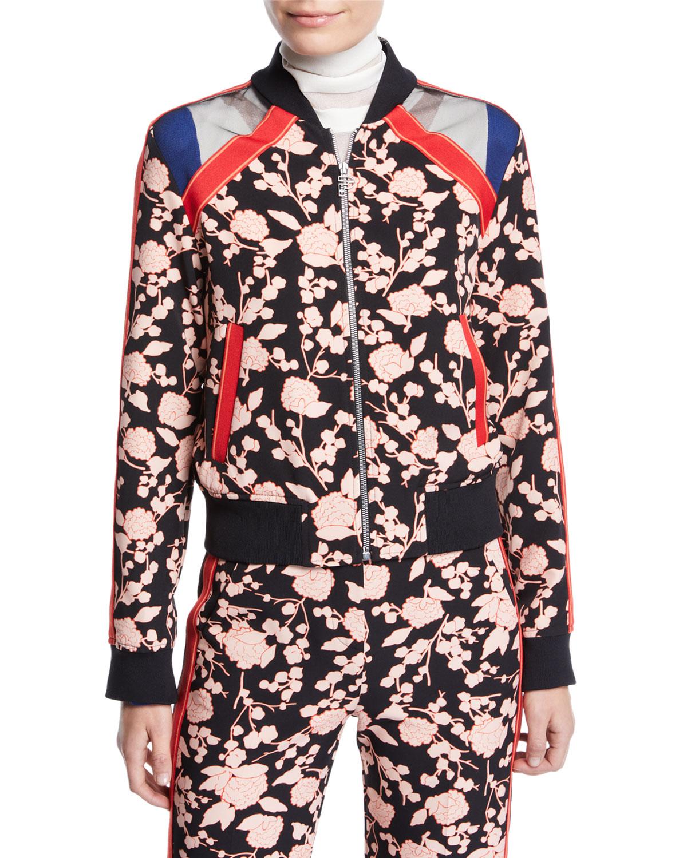PINKO Floral Zip-Front Bomber Jacket in Black Pattern