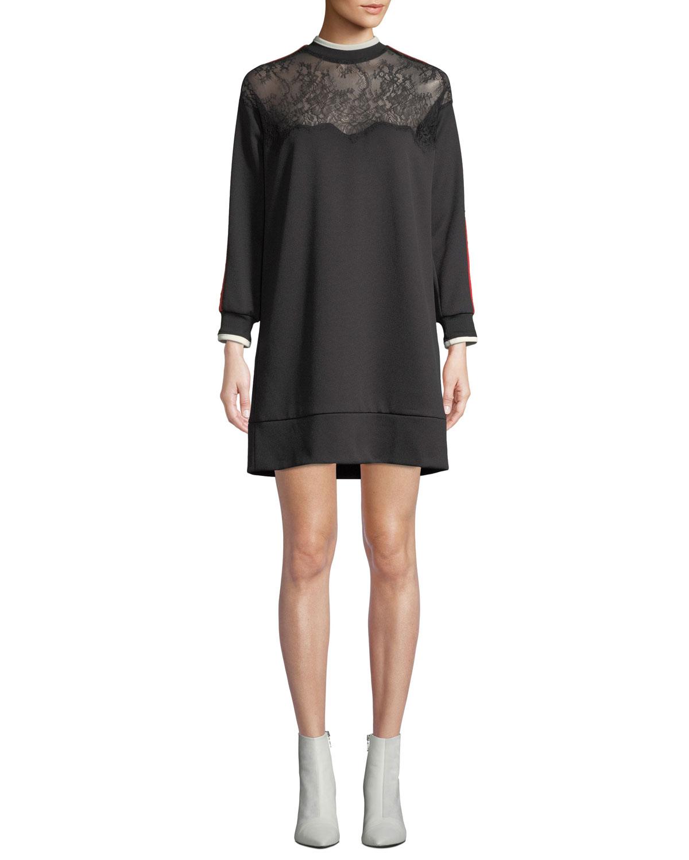 PINKO Lace Racer-Stripe Short Sweatshirt Dress in Black