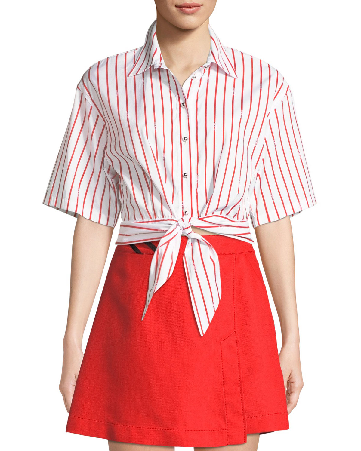 PINKO Striped Tie-Front Cropped Button-Down Top in White/Red