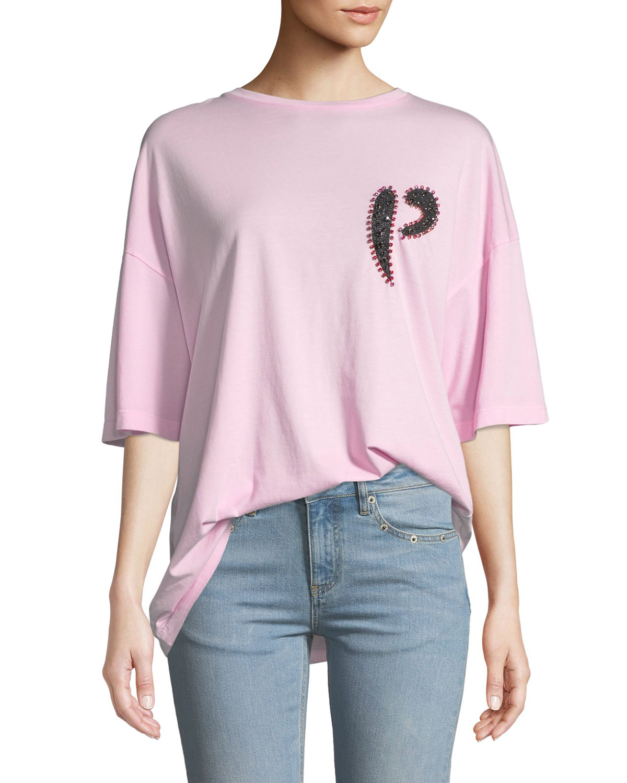 PINKO Oversized Embellished Logo Crewneck Tee in Pink