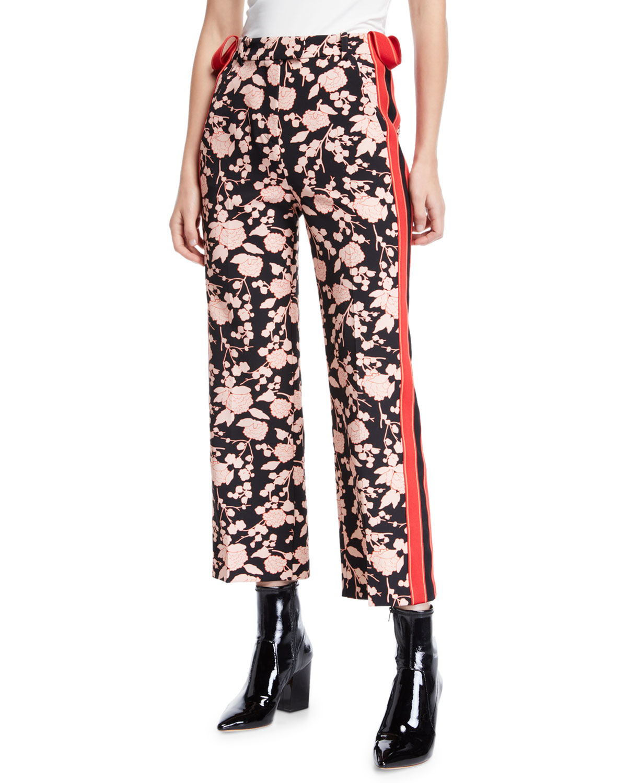 PINKO Floral-Print Sporty Side-Stripe Ankle Pants in Black Pattern