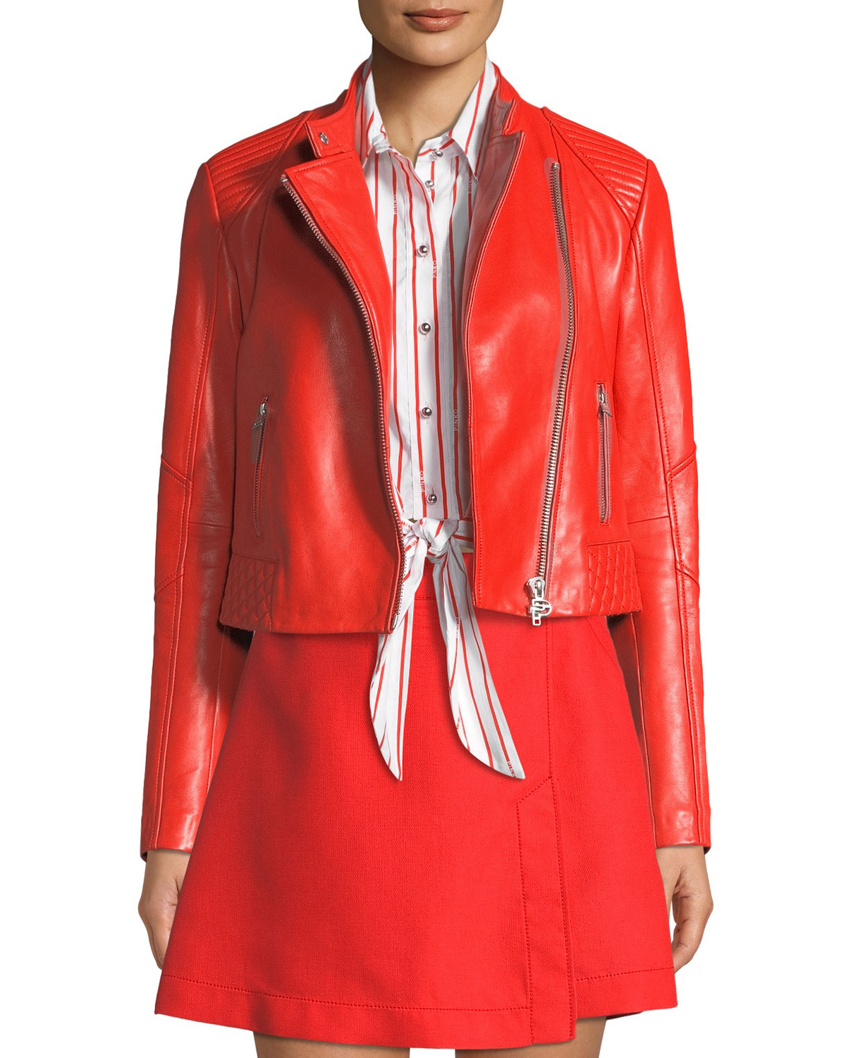 PINKO Cropped Leather Biker Jacket in Red