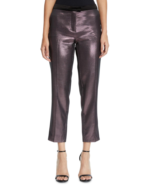PINKO Metallic Cropped Straight-Leg Pants in Pink Metallic
