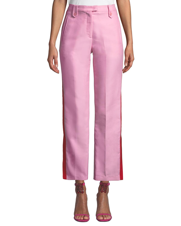 PINKO Side-Stripe Straight-Leg Tuxedo Pants in Pink