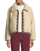 The Great The Shepherd Cropped Zip-Front Bomber Jacket