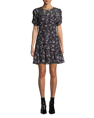 Kayleigh Floral Silk Ruched Dress