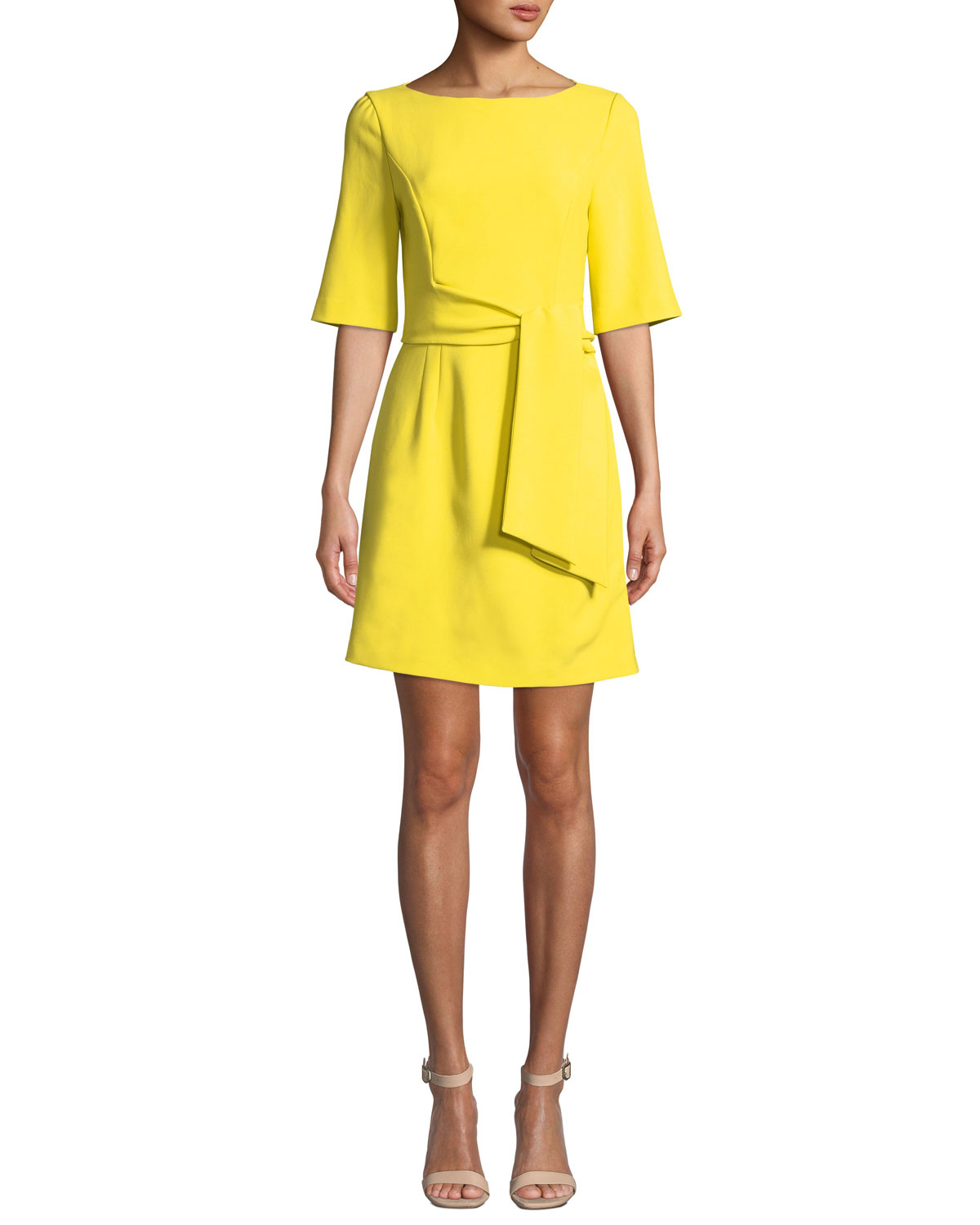 Virgil Boat-Neck Dress With Wrap Belt in Yellow