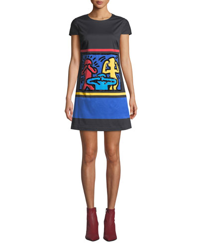 Keith Haring x Alice + Olivia Clyde Embellished A-Line Shift Dress