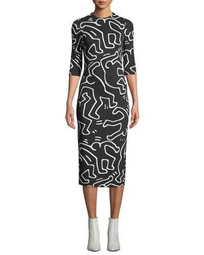 Keith Haring x Alice + Olivia Delora Fitted Crewneck Dress