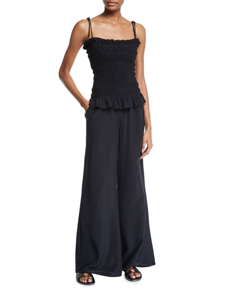 Tory Burch Cone Sizeta Smocked Wide-Leg Silk Coverup Jumpsuit