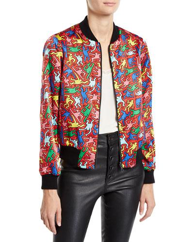 Keith Haring x Alice + Olivia Lonnie Reversible Bomber Jacket