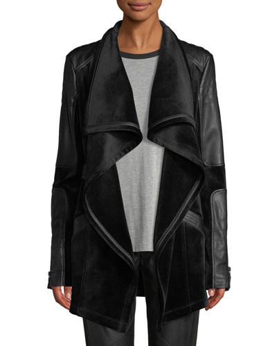 Drape Velour & Faux-Leather Belted Jacket