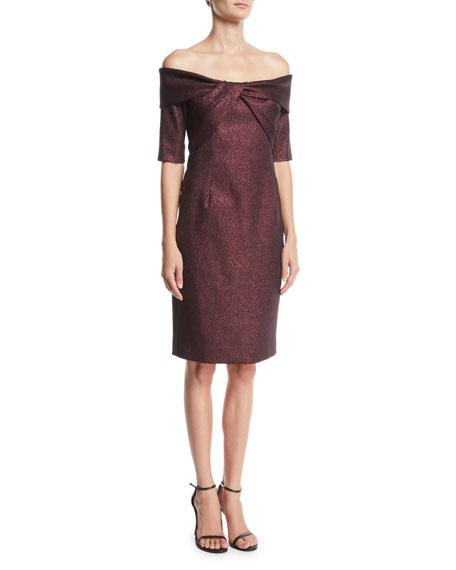 Rickie Freeman for Teri Jon Off-the-Shoulder Metallic Jacquard Twist Dress