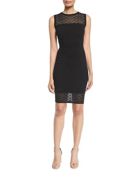 Milly Sleeveless Translucent Texture Sheath Dress