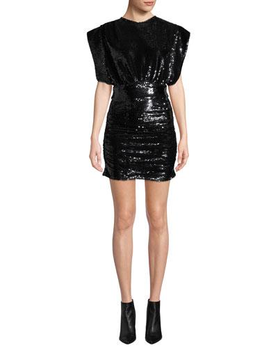 Miracle Sequin Crewneck Short-Sleeve Mini Dress