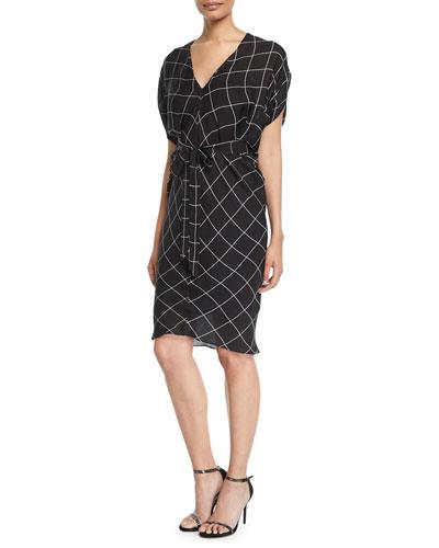 Aimee Check Bias Sheath Dress