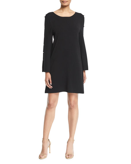 Milly Button-Sleeve Shift Dress