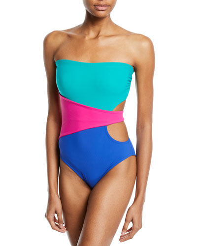 Marcella Bandeau Colorblock One-Piece Swimsuit