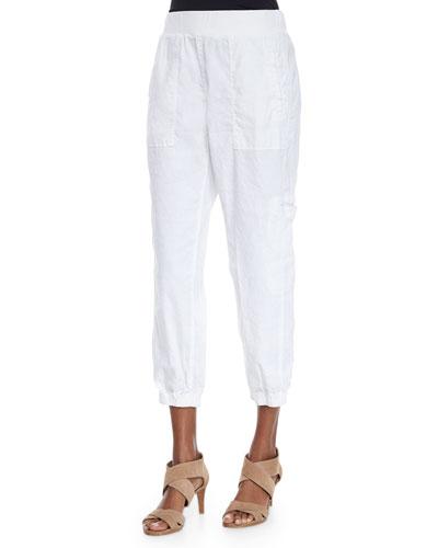 Petite Linen-Blend Cargo Ankle Pants
