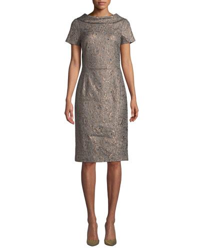 V-Back Metallic Jacquard Dress