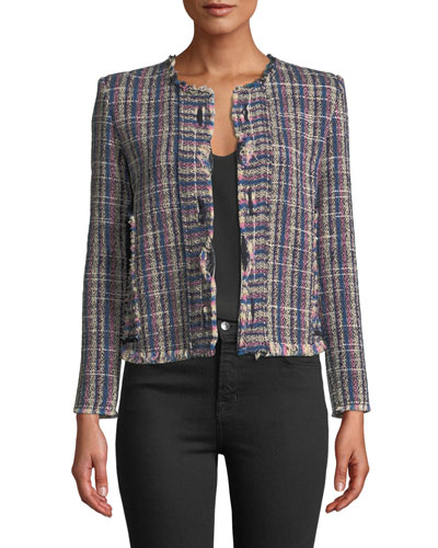 Frannie Collarless Tweed Jacket