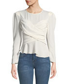 Iro Scene Strong-Shoulder Crepe Wrap Blouse