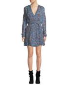 Iro Bustle Surplice Long-Sleeve Wrap Dress